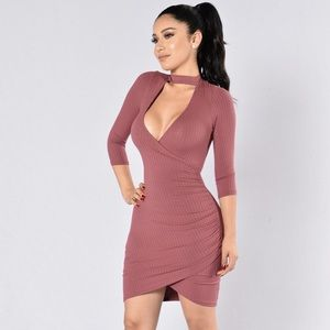 5a3e861e27 Fashion Nova Dresses - Fashion Nova Mauve Bodycon Choker Dress